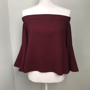 Topshop Burgundy Bardot Top